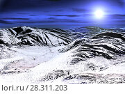 Купить «Bright Moon over the mountains, covered with glaciers», фото № 28311203, снято 17 июня 2017 г. (c) Евгений Ткачёв / Фотобанк Лори