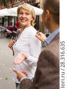 Купить «woman asked on street», фото № 28316635, снято 22 августа 2019 г. (c) Яков Филимонов / Фотобанк Лори