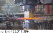 Купить «Blacksmith forging red hot iron on anvil - automatic hammering», фото № 28317399, снято 17 июля 2018 г. (c) Константин Шишкин / Фотобанк Лори