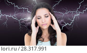 Купить «Lightning strikes and stressed woman with headache holding head», фото № 28317991, снято 22 мая 2019 г. (c) Wavebreak Media / Фотобанк Лори