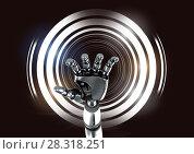 Купить «Robotic android hand and Glowing circles on black background», фото № 28318251, снято 17 декабря 2018 г. (c) Wavebreak Media / Фотобанк Лори