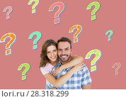 Купить «Happy couple with colorful funky question marks», фото № 28318299, снято 17 октября 2018 г. (c) Wavebreak Media / Фотобанк Лори