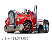 Купить «Cartoon retro semi truck», иллюстрация № 28319035 (c) Александр Володин / Фотобанк Лори