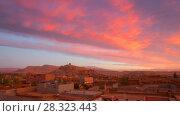 Купить «Old castle Kasbah Ait Ben Haddou sunrise timelapse», видеоролик № 28323443, снято 28 февраля 2018 г. (c) Кирилл Трифонов / Фотобанк Лори
