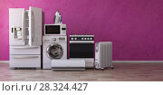 Купить «Set of household home appliancess on pink background. Kitchen technics in the new appartments. E-commerce online internet store and delivering of appliances concept.», фото № 28324427, снято 20 марта 2019 г. (c) Maksym Yemelyanov / Фотобанк Лори