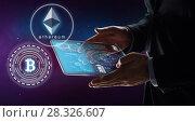 Купить «businessman with tablet pc and cryptocurrency», фото № 28326607, снято 6 сентября 2016 г. (c) Syda Productions / Фотобанк Лори