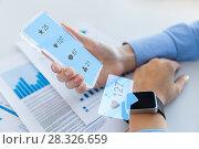 Купить «hands with smartphone and smart watch social media», фото № 28326659, снято 13 августа 2015 г. (c) Syda Productions / Фотобанк Лори