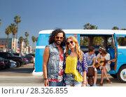 Купить «hippie couple over minivan at venice beach in la», фото № 28326855, снято 27 августа 2015 г. (c) Syda Productions / Фотобанк Лори