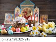 Купить «Easter cake and painted eggs», фото № 28326915, снято 14 апреля 2018 г. (c) Типляшина Евгения / Фотобанк Лори