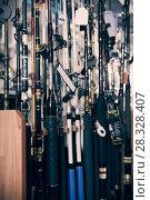 Купить «Picture of fine fishing rods for fishing», фото № 28328407, снято 16 января 2018 г. (c) Яков Филимонов / Фотобанк Лори