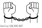Купить «Handcuffs on the hands of the criminal», иллюстрация № 28335307 (c) Сергей Лаврентьев / Фотобанк Лори