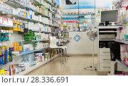Купить «Interior of pharmacy», фото № 28336691, снято 2 марта 2018 г. (c) Яков Филимонов / Фотобанк Лори