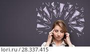 Купить «Stressed headache woman with sharp triangle doodles on purple background», фото № 28337415, снято 18 июля 2018 г. (c) Wavebreak Media / Фотобанк Лори