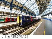 Купить «Trains on the Brighton train station, United Kingdom», фото № 28340151, снято 1 августа 2017 г. (c) Ирина Мойсеева / Фотобанк Лори