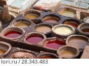 Купить «Tanneries of Fes, Morocco, Africa», фото № 28343483, снято 16 февраля 2018 г. (c) Михаил Коханчиков / Фотобанк Лори
