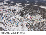 Купить «Vyngapurovsky is oilman's village in West Siberia, bird's eye view», фото № 28344043, снято 22 марта 2017 г. (c) Владимир Мельников / Фотобанк Лори