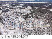Купить «Vyngapurovsky is oilman's village in West Siberia, bird's eye view», фото № 28344047, снято 22 марта 2017 г. (c) Владимир Мельников / Фотобанк Лори