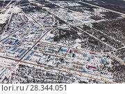 Купить «Vyngapurovsky is oilman's village in West Siberia, bird's eye view», фото № 28344051, снято 22 марта 2017 г. (c) Владимир Мельников / Фотобанк Лори