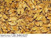 Купить «Background - golden kernels of peeled walnuts», фото № 28344627, снято 26 апреля 2018 г. (c) Евгений Харитонов / Фотобанк Лори