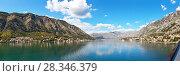 Купить «Montenegro. Panoramic view from the ship's side to the beautiful Boka Kotor Bay on a sunny day», фото № 28346379, снято 8 октября 2016 г. (c) Виктория Катьянова / Фотобанк Лори