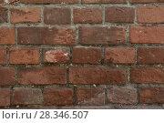 Купить «Грубая текстура старой красной кирпичной стены», фото № 28346507, снято 13 апреля 2018 г. (c) Евгений Бусурманов / Фотобанк Лори