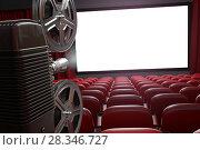 Купить «Movie projector and blank cinema screen with empty seats. Cinema, movie or home video concept background.», фото № 28346727, снято 2 апреля 2020 г. (c) Maksym Yemelyanov / Фотобанк Лори