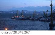Купить «Ночной вид на Петропавловск-Камчатский морской торговый порт», видеоролик № 28348267, снято 29 апреля 2018 г. (c) А. А. Пирагис / Фотобанк Лори