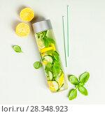 Купить «Infused water in a bottle», фото № 28348923, снято 5 апреля 2018 г. (c) Наталия Кленова / Фотобанк Лори