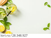 Купить «Healthy homemade lemonade or cocktail», фото № 28348927, снято 5 апреля 2018 г. (c) Наталия Кленова / Фотобанк Лори