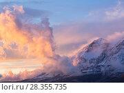 Купить «Winter sunset on Mount Velino in the Sirente-Velino Regional Park. Abruzzo, Central Apennines, Italy.», фото № 28355735, снято 23 мая 2018 г. (c) Nature Picture Library / Фотобанк Лори
