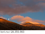 Купить «Moon rising over Mount Velino at sunset, in the Sirente-Velino Nature Reserve. Central Apennines, Abruzzo, Italy.», фото № 28355983, снято 29 мая 2020 г. (c) Nature Picture Library / Фотобанк Лори