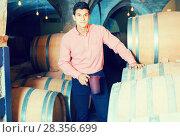 Купить «serious man posing in winery cellar», фото № 28356699, снято 21 сентября 2016 г. (c) Яков Филимонов / Фотобанк Лори