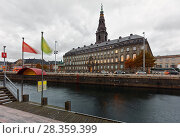 Купить «Christiansborg Palace in Copenhagen, Denmark», фото № 28359399, снято 6 ноября 2016 г. (c) Stockphoto / Фотобанк Лори