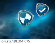 Купить «Antivirus security protection shields with gradient background», фото № 28361075, снято 19 февраля 2019 г. (c) Wavebreak Media / Фотобанк Лори