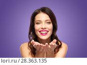 Купить «beautiful smiling young woman with pink lipstick», фото № 28363135, снято 5 января 2018 г. (c) Syda Productions / Фотобанк Лори