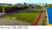 City stadium: football field on a sunny morning. Стоковое фото, фотограф Николай Лемешев / Фотобанк Лори