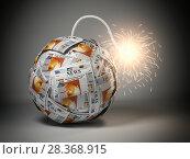 Купить «Breaking hot news concept. Bomb from newspapers with wick and sparks.», фото № 28368915, снято 21 ноября 2019 г. (c) Maksym Yemelyanov / Фотобанк Лори