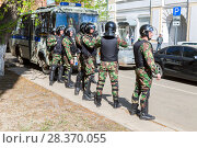 Купить «Special Forces soldiers of the police during an opposition protest rally», фото № 28370055, снято 5 мая 2018 г. (c) FotograFF / Фотобанк Лори
