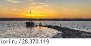 Купить «Old Abandoned Boat at Sunset», фото № 28370119, снято 22 апреля 2018 г. (c) Sergii Zarev / Фотобанк Лори