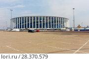 Купить «Достроенный футбольный стадион в Нижнем Новгороде к Чемпионату мира ФИФА 2018», фото № 28370579, снято 2 мая 2018 г. (c) Светлана Кузнецова / Фотобанк Лори