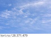 Купить «Blue sky background with clouds», фото № 28371479, снято 29 апреля 2018 г. (c) Ирина Носова / Фотобанк Лори