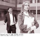 Купить «Female employee is upset with the reprimand of boss», фото № 28373111, снято 20 августа 2017 г. (c) Яков Филимонов / Фотобанк Лори