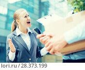 Купить «Irate woman is dismissing young manager for violating the job description», фото № 28373199, снято 15 июля 2017 г. (c) Яков Филимонов / Фотобанк Лори