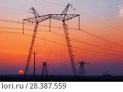 Купить «power line at sunset», фото № 28387559, снято 3 мая 2018 г. (c) Майя Крученкова / Фотобанк Лори