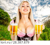 oktoberfest woman with big breast Holds two mugs. Стоковое фото, фотограф katalinks / Фотобанк Лори