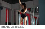Купить «Young athlete woman performing pole dance elements on a pole», видеоролик № 28389139, снято 22 июля 2019 г. (c) Константин Шишкин / Фотобанк Лори