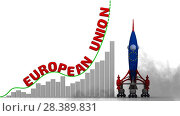 Купить «The graph of European Union success», видеоролик № 28389831, снято 4 мая 2018 г. (c) WalDeMarus / Фотобанк Лори
