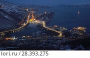 Купить «Вечерний вид сверху на город Петропавловск-Камчатский», видеоролик № 28393275, снято 9 мая 2018 г. (c) А. А. Пирагис / Фотобанк Лори