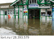 Купить «Ambleside Pier surrounded by flood water after Lake Windermere burst its banks in Ambleside in the Lake District on Sunday 6th December 2015, after torrential...», фото № 28393579, снято 17 июля 2018 г. (c) Nature Picture Library / Фотобанк Лори