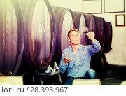 Купить «Man wine maker holding wineglass for tasting», фото № 28393967, снято 16 октября 2018 г. (c) Яков Филимонов / Фотобанк Лори